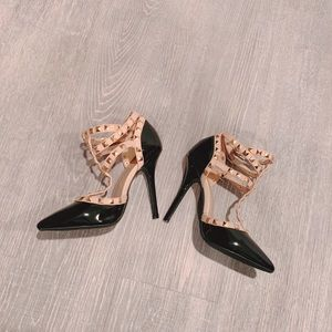 Size 5 black studded heels